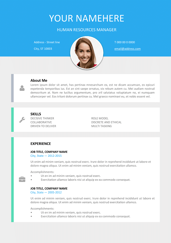 Le Marais Free Modern Resume Template for Word DOCX Modern