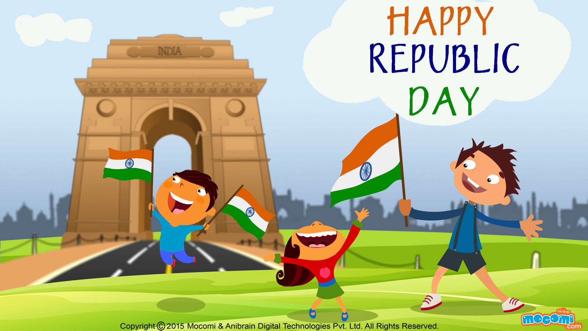 Happy Republic Day Wallpaper 8 Desktop Wallpaper For Kids Mocomi Happy Independence Day India Republic Day Happy Republic Day Wallpaper
