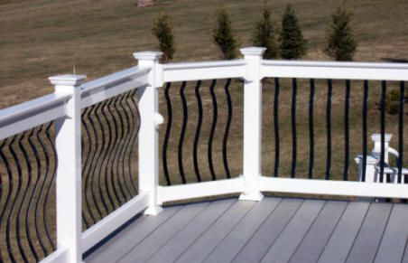 Idea for new porch railing. White painted posts with ...