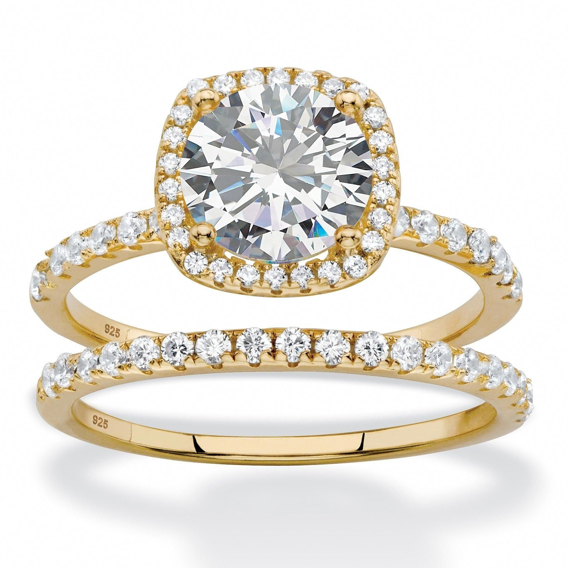 Yellow Gold over Sterling Silver Cubic Zirconia Bridal