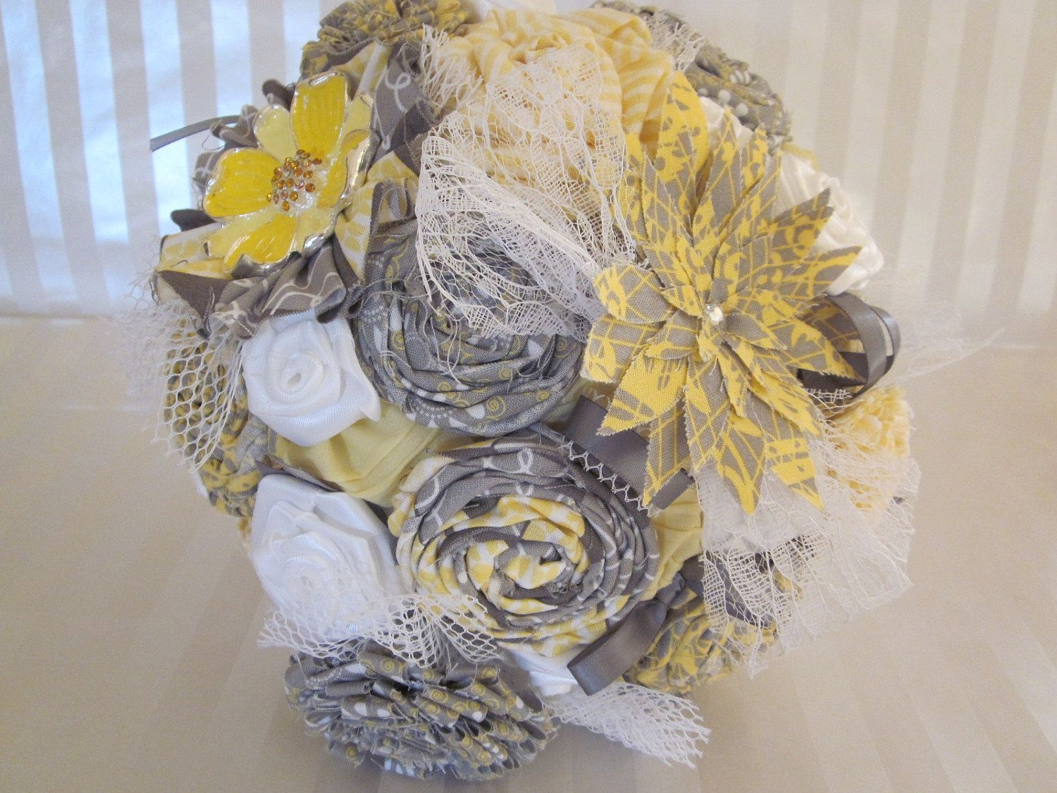 Reserved For Shena Fabric Flower Bridal Bouquet Matching Groom