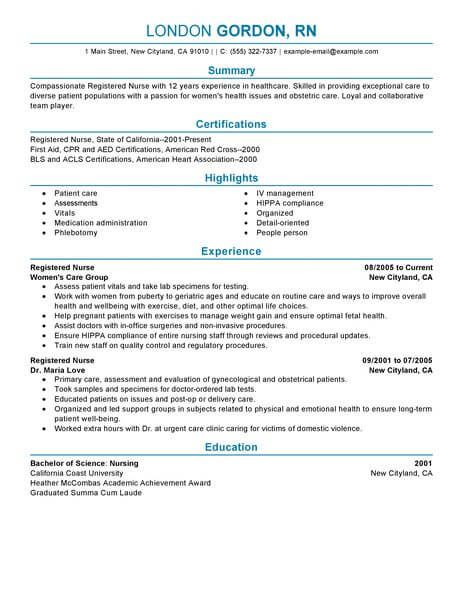 Registered Nurse Resume Examples Pinterest Resume examples