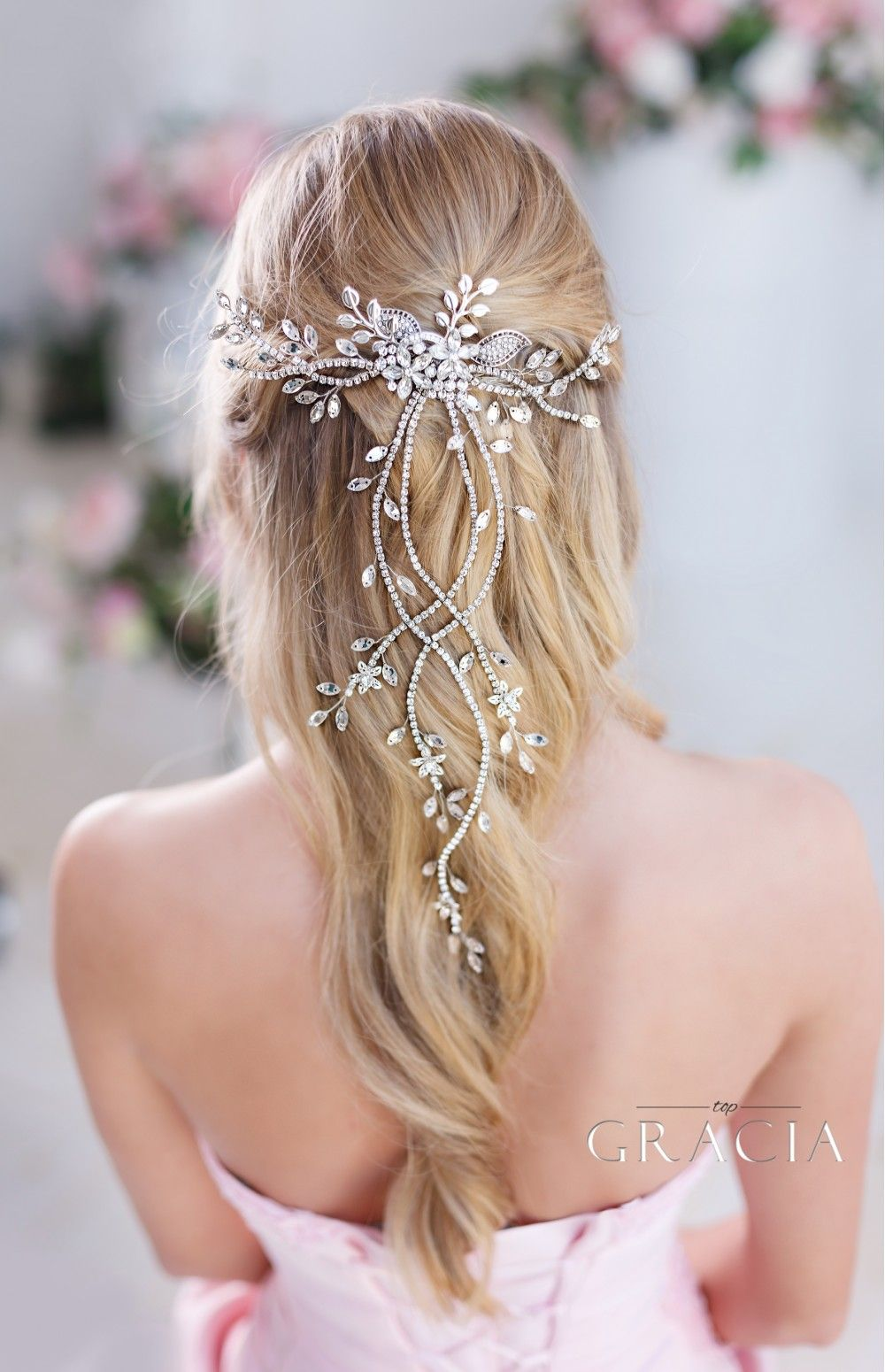 DIANTHE Crystal Wedding Hair Vine With Leaf Bridal Hair Comb #bridalhair