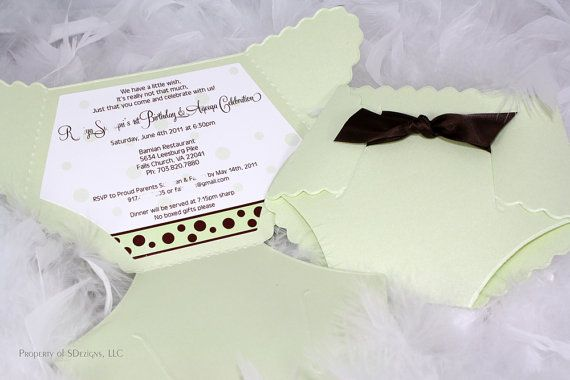 Diaper Invitations for baby showers, baby's birthday or baby announcement.  So adorable!!