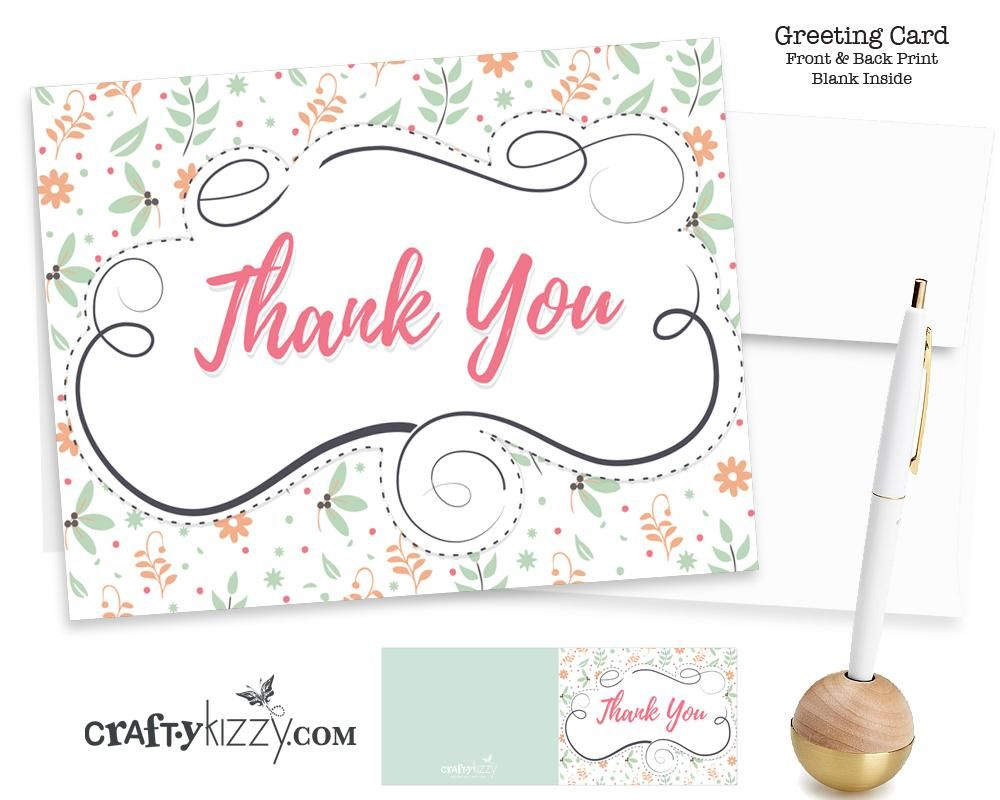 Thank You Card And Envelope Modern Floral Design Baby Shower