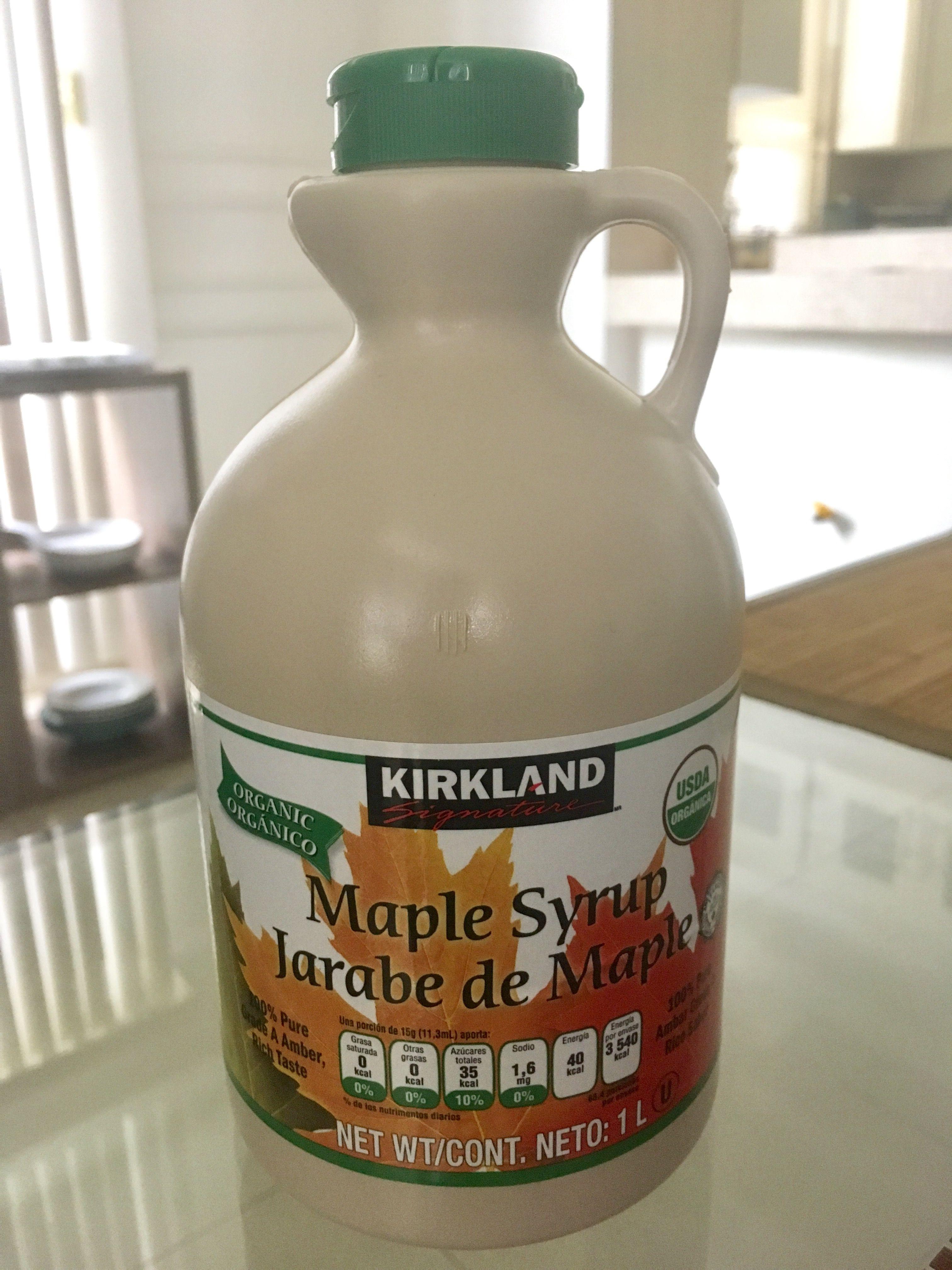 Este es el jarabe de maple orgánico que compro en Costco y uso con moderación en mi cocina. Su IG es de 54.