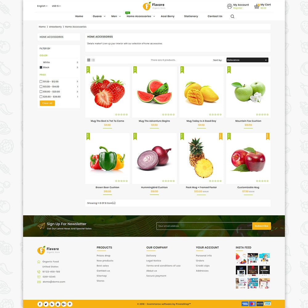 Flavoro Fresh Organic Store Template Organic Food Store Organic Recipes Food Themes