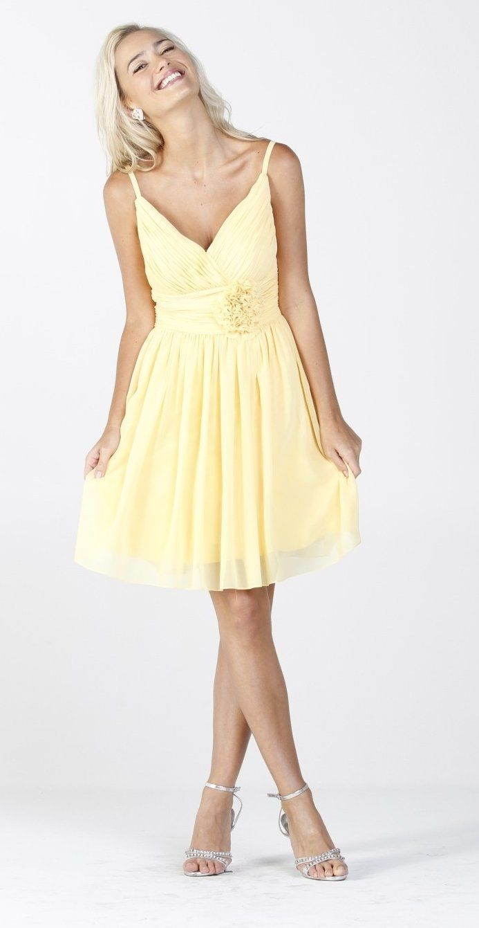 Chiffon yellow bridesmaid dress ruched top flower waist knee length