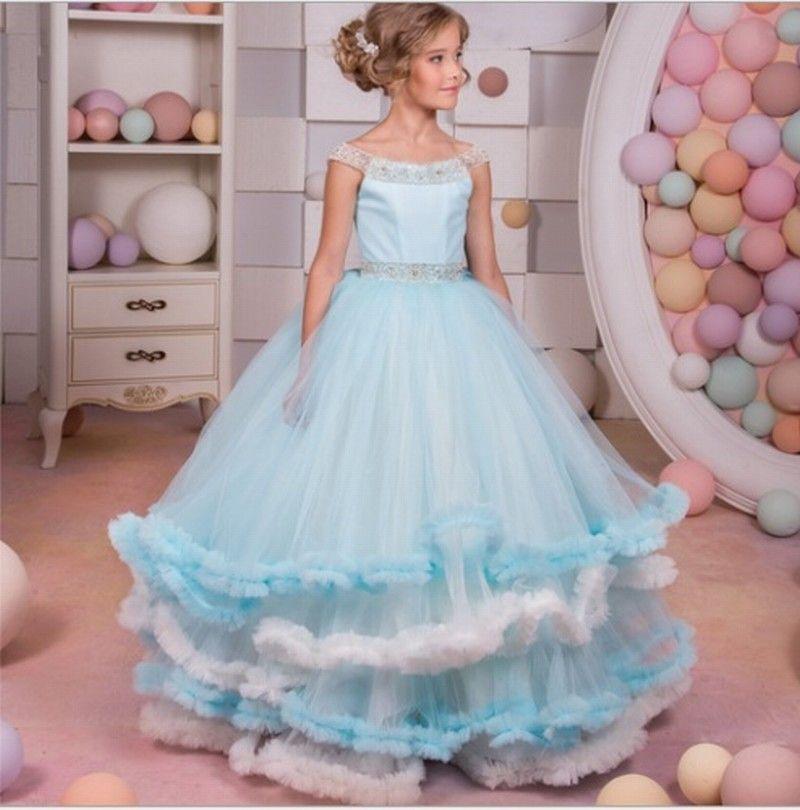 23f2b0713f3 Light Blue Tulle Kids Flower Girl Dress First Communion Dresses Birthday Wedding  party Bridesmaid Beading Sash Princess Gown Flower Girl Dress ...