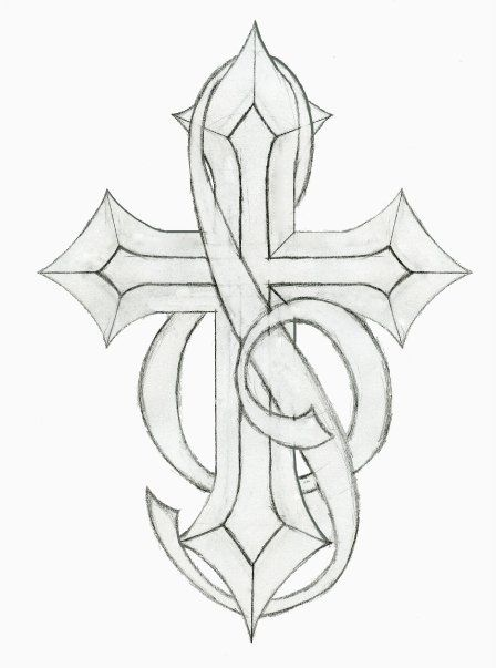 Cross Tattoo With Music Notes