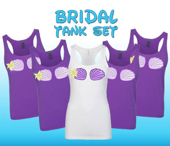 9c871595 Featured here is a set of Womens tank tops with glitter shell bra just like  the little mermaid! Perfect for a beach wedding. Perfect for the