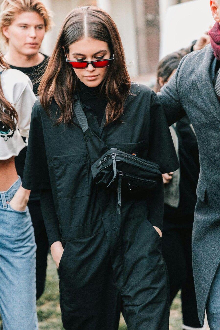 Kaia Gerber Black Boilersuit Jumper Red Lens