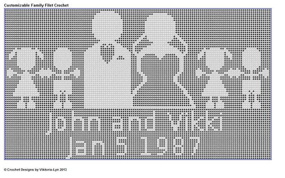 Filet Crochet PATTERN Customizable Family by filetcrochetpatterns, $5.00