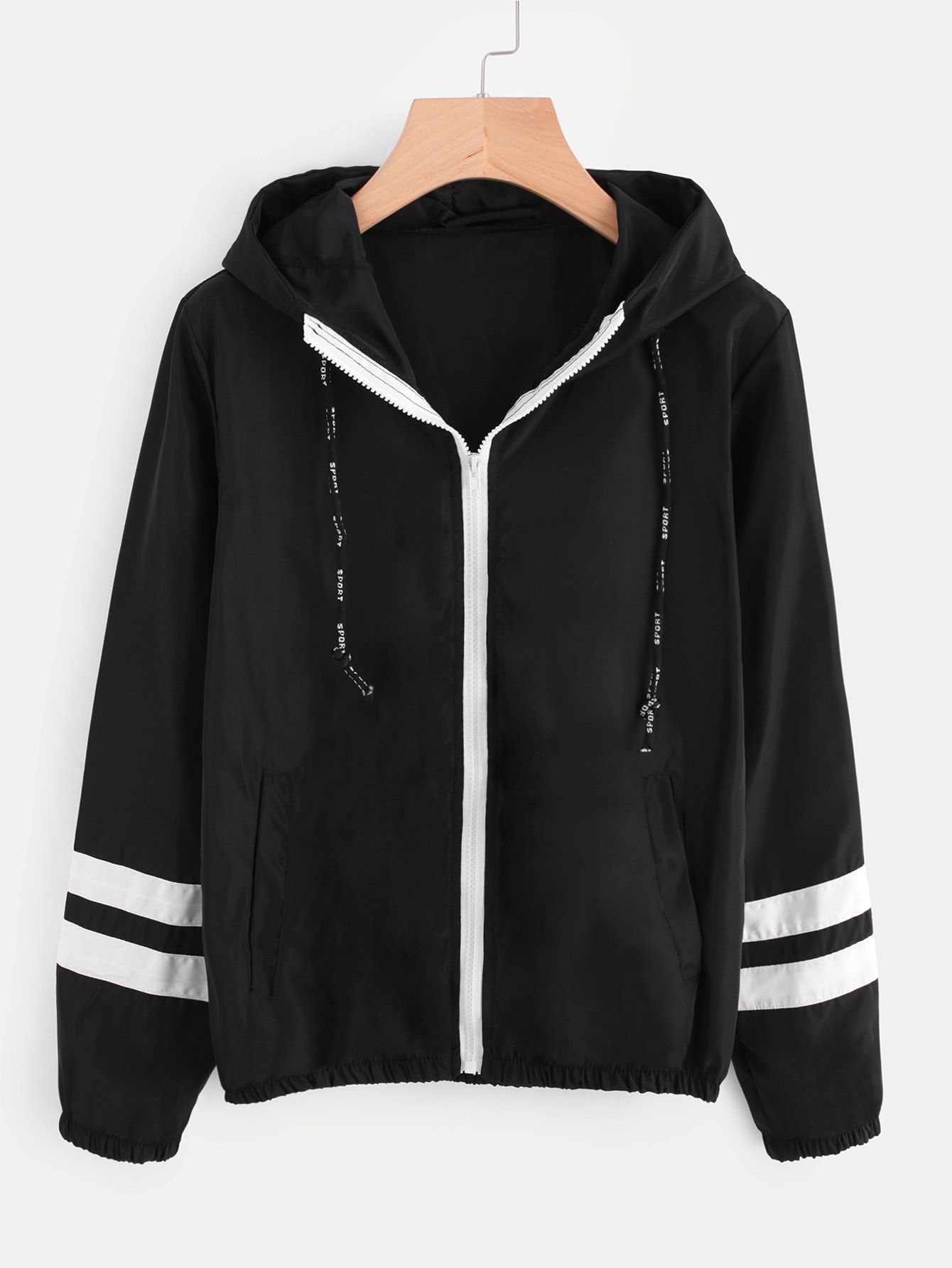 Varsity-striped Zip Up Hooded Jacket in 2019  ecf919f093