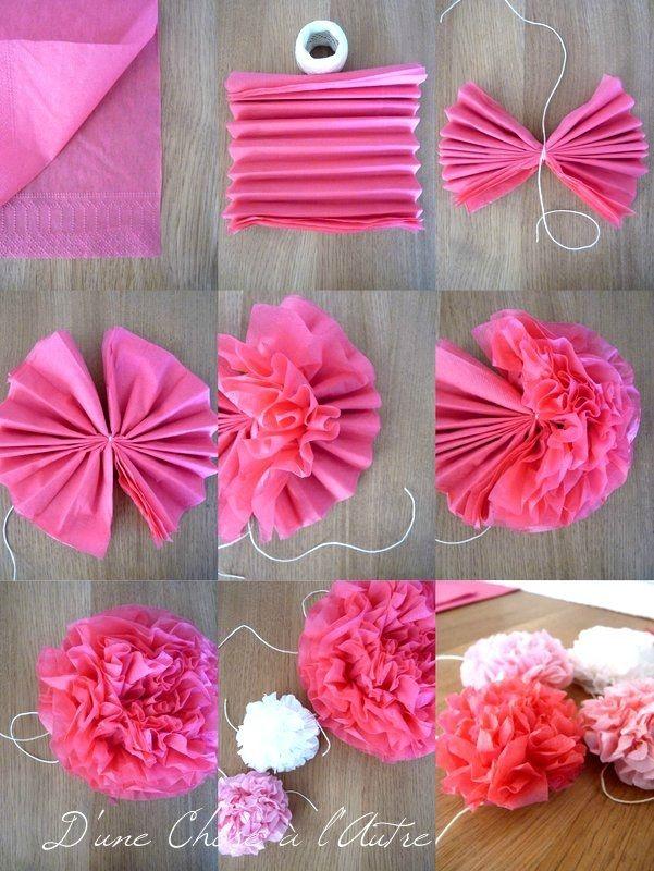 wedding time 2 les fleurs pivoines en serviette d 39 une chose l 39 autre decoration comode. Black Bedroom Furniture Sets. Home Design Ideas