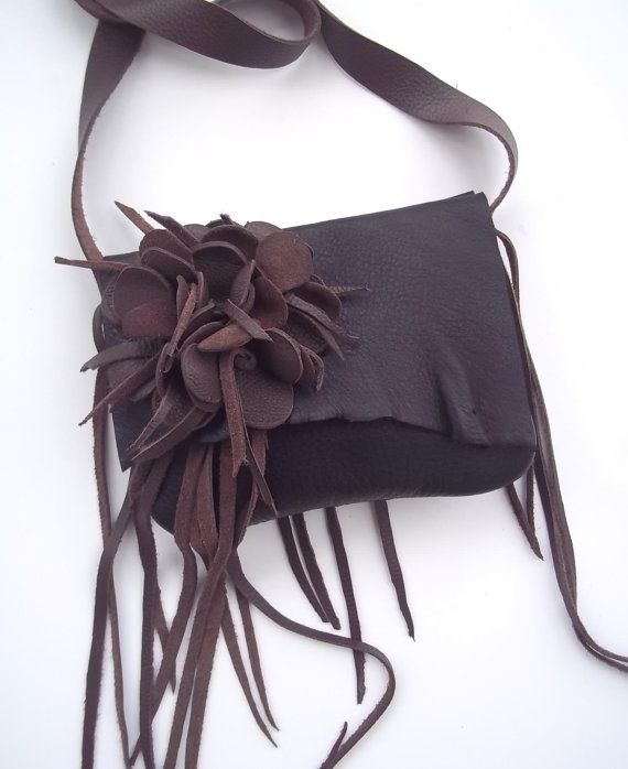 brown black leather messenger, shoulder bag with removeable flower, by Tuscada. Made to order.