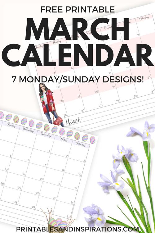 march 2018 calendar free printables with monday calendar