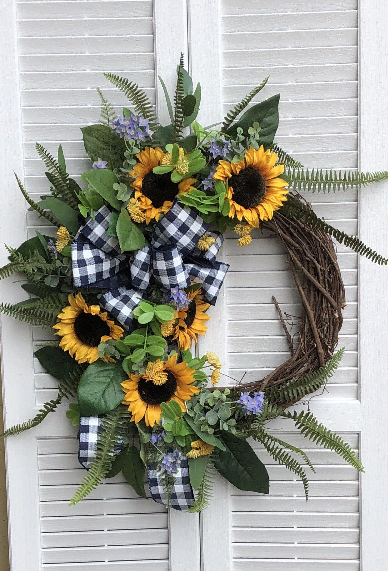 Photo of Yellow Sunflower Wreath for Front Door / Blue and White Ribbon Wreath/ Sunflower Fall Wreath / Autumn Yellow Sunflower Wreath /