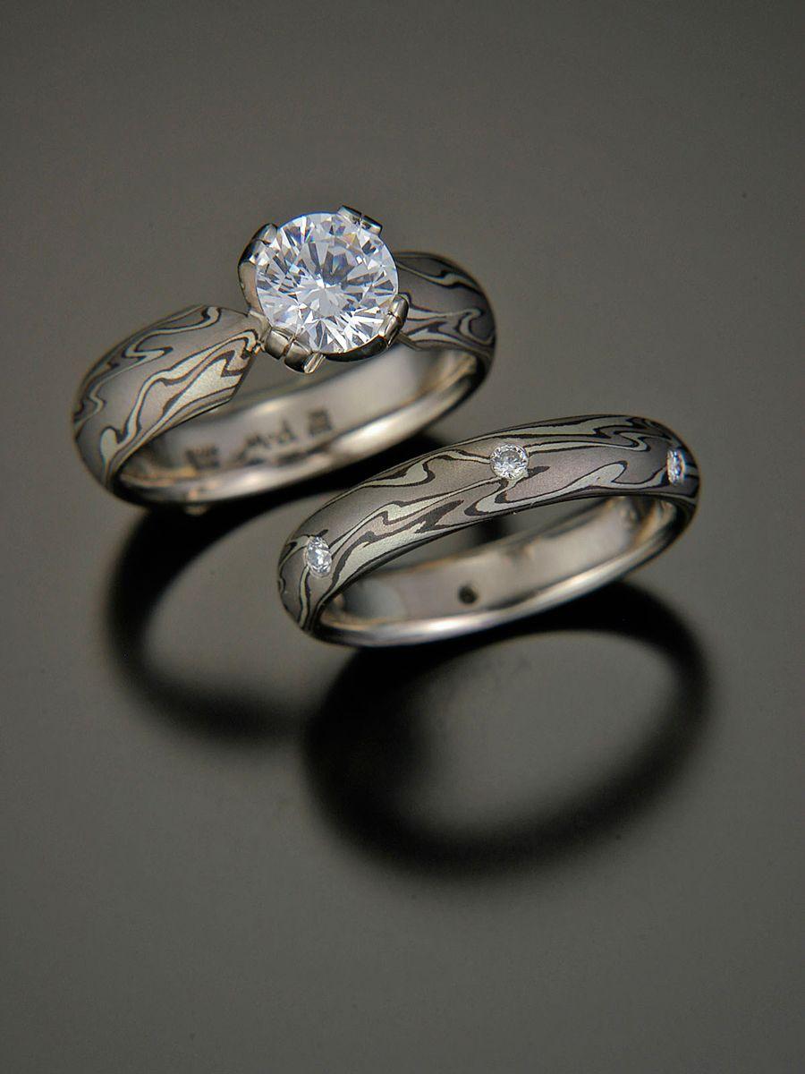 Michael Daniels mokume gane engagement ring and wedding band set