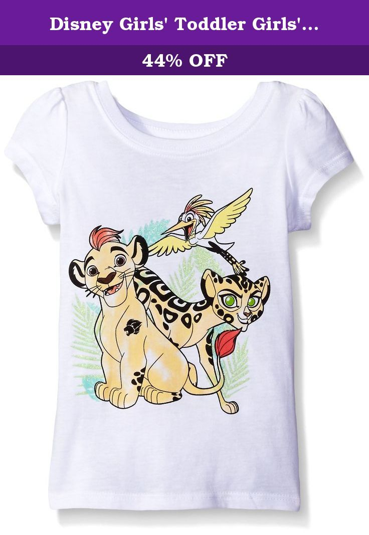 Disney Girls' Toddler Girls' the Lion Guard Kion and Fuli Short Sleeve T-Shirt, White, 2T. Disney junior's the lion guard kion and full short puff sleeve t-shirt.