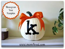 Love this punkin'!  Mom 4 Real: Monogrammed Pumpkin...A New Old Post