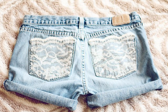 Diy Lace Pocket Shorts Lace Pocket Diy Lace Jeans Diy Fashion