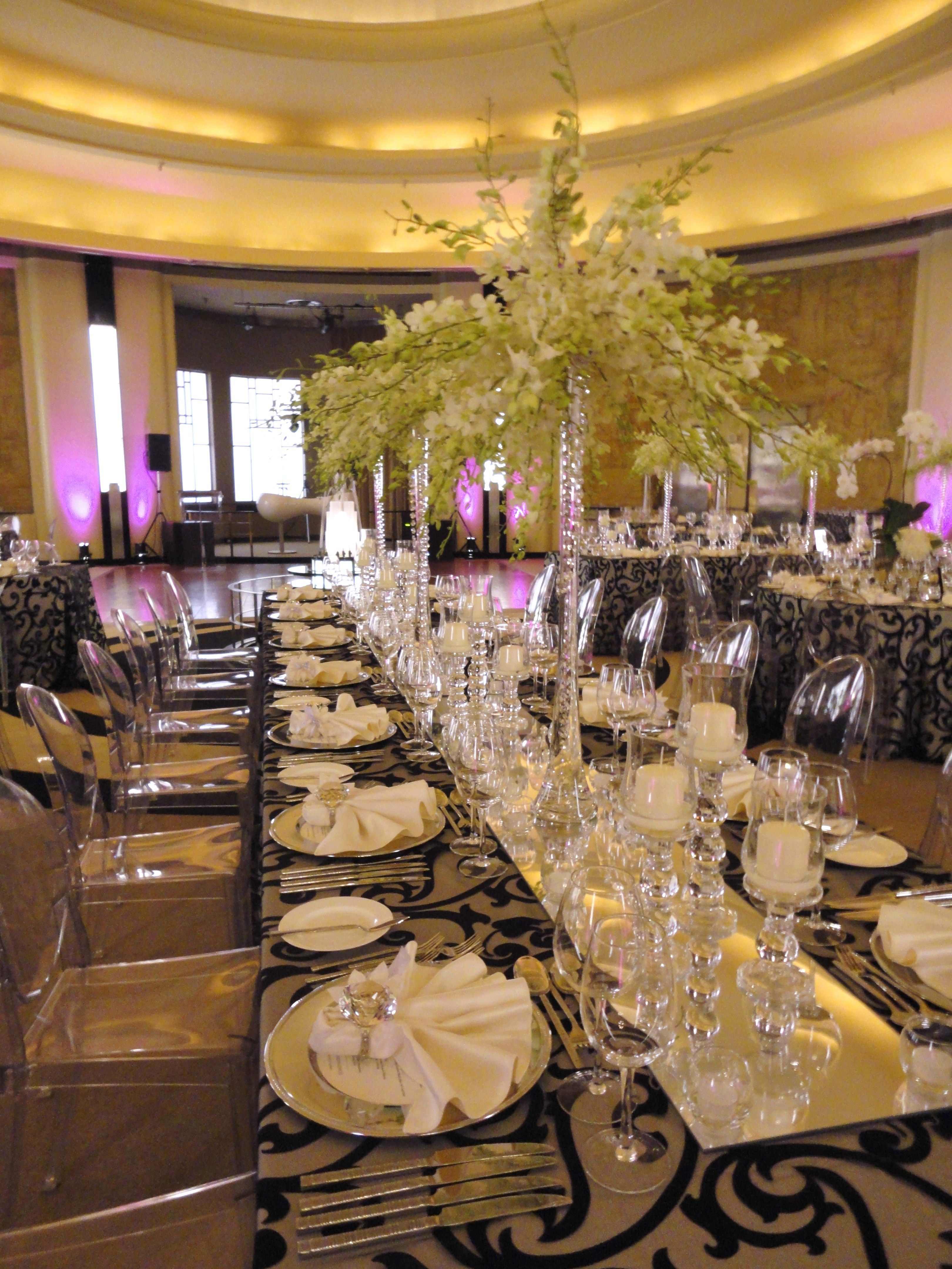 Beautiful Mirrored Table Runner To Enhance The Plethora Crystal Votives And Candelabras In Round Room