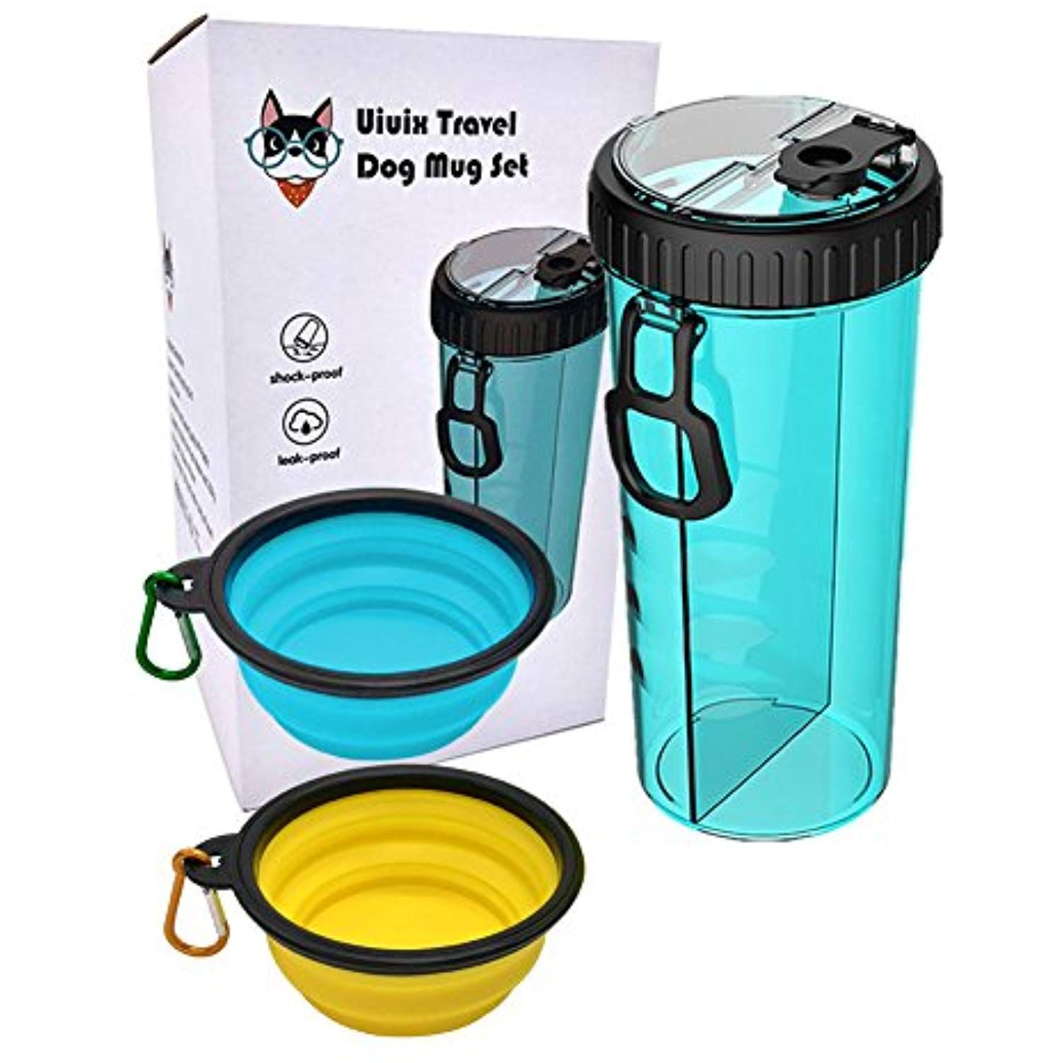 Uiuix Dog Water Bottle With Bowl 2 In 1 Travel Portable Dog Food Container And Water Bottle For Walki Dog Water