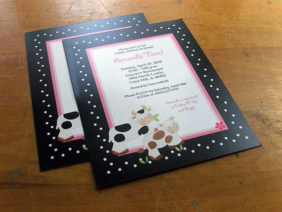 Baby Moo Moo Cow Farm Theme Girl Baby Shower Invitations, Pink Cows