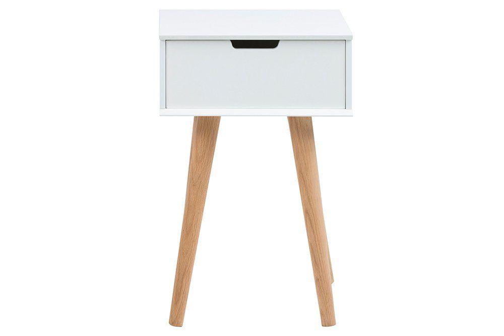 Amazon.de: Nachttisch In Weiß, 1 Schubkasten, Echtholzbeine Aus Eiche, Maße