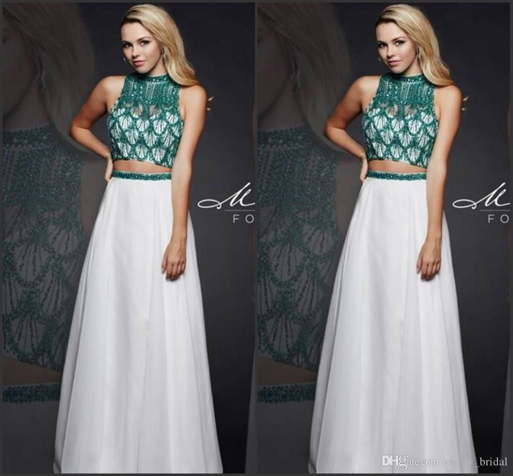 Chic Hunter 2016 Two Pieces Prom Dresses Beading Crystal High Neck Sexy Open Back Formal Evening Dress Chiffon Long Prom Party Gowns Cheap Uk Prom Dresses China Prom Dresses From Molly_bridal, $103.21| Dhgate.Com