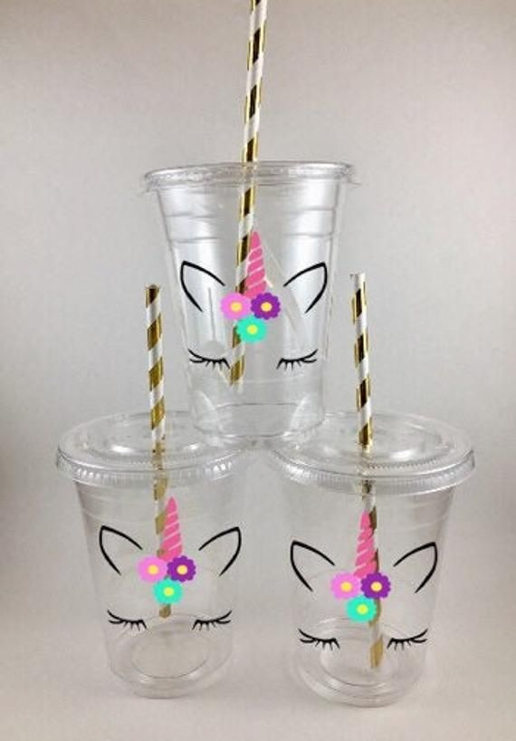 Unicorn Party Cups Unicorns PERSONALIZED Disposable with Lids Straws Birthday Favors - Unicorn party cups, Unicorn birthday party decorations, Unicorn birthday parties, Unicorn themed birthday party, Rainbow unicorn party, Unicorn party -  DISPOSABLE Unicorn face Party Cups  — Comes just as pictured  WITH lids & matching straws THESE ARE DISPOSABLE PLASTIC CUPS ) The cups are decaled with professionalgrade, top quality VINYL   It is waterproof! Each decal is hand placed on the cup  They are hand made with lots of labor and love )  Cups are available in sets of 81216 Available personalized or not (just with regular decals) LARGER QUANTITIES AVAILABLE    just message me  The perfect addition to your themed party! Adorable and durable!  — Cup is disposable plastic and holds 16oz — Cold liquids only