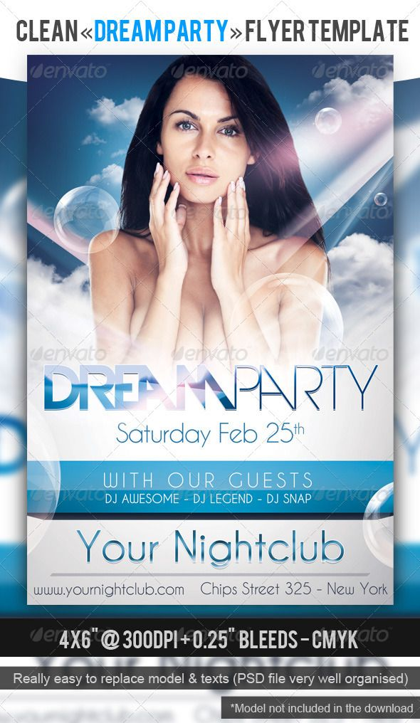 dream party flyer template a modern and clean flyer template print