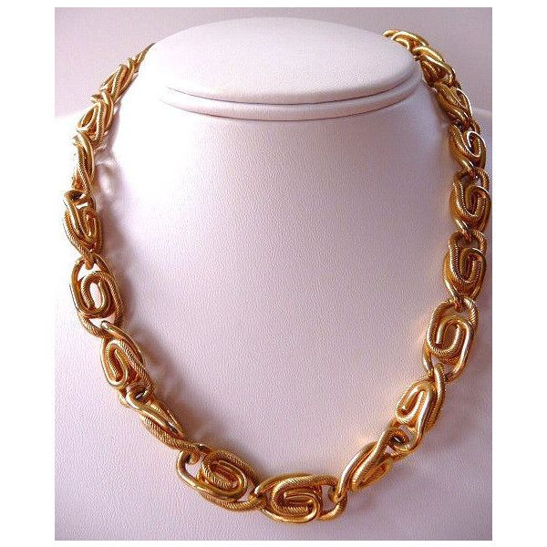 Sarah Coventry paperclip chain necklace retro gold tone vintage... (€20) ❤ liked on Polyvore featuring jewelry and necklaces