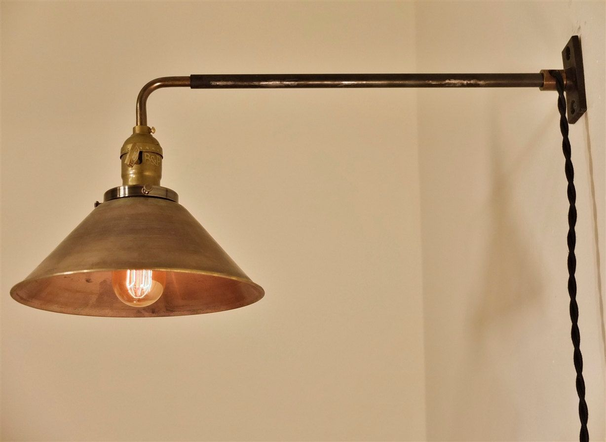 Vintage Industrial Wall Mount Light - BRASS SHADE - Machine Age Trouble L& Sconce Milk & Vintage Industrial Wall Mount Light - BRASS SHADE - Machine Age ... azcodes.com