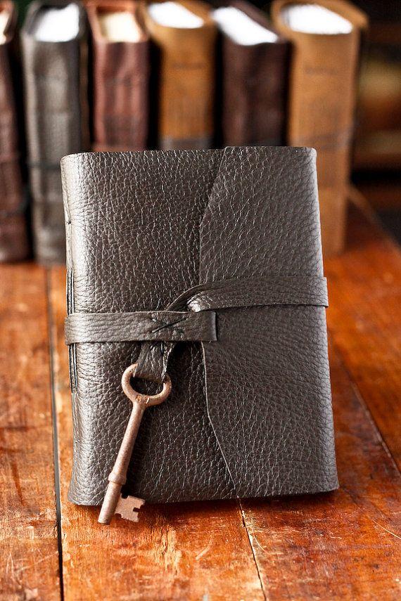 Leather Journal with Skeleton Key Closure  by wayfaringart on Etsy