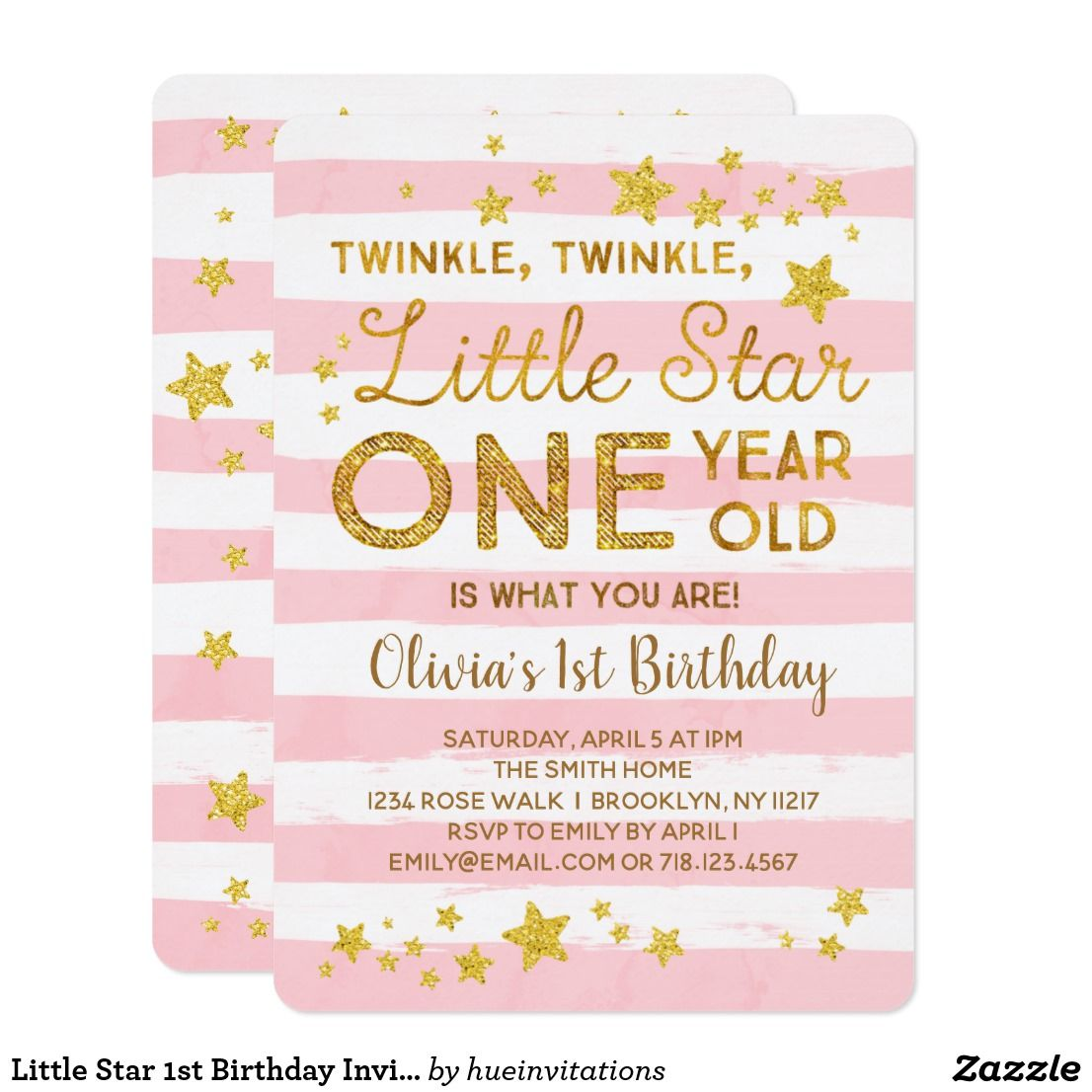 Little star 1st birthday invitation pink gold little star 1st birthday invitation pink gold twinkle twinkle little star one year old is what you are twinkle twinkle little star 1st birthday filmwisefo