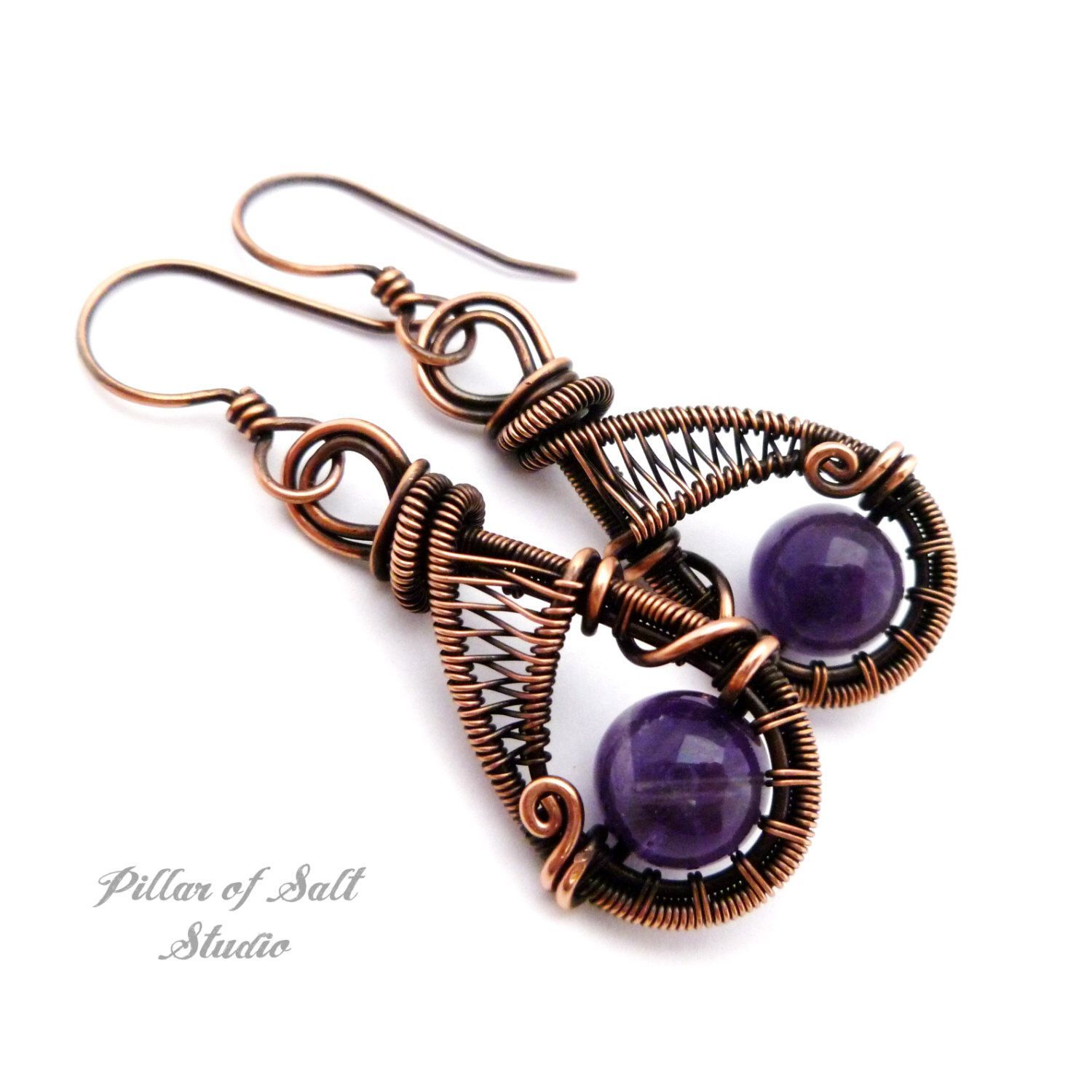 Wire wrapped earrings / purple Amethyst / wire wrapped jewelry ...