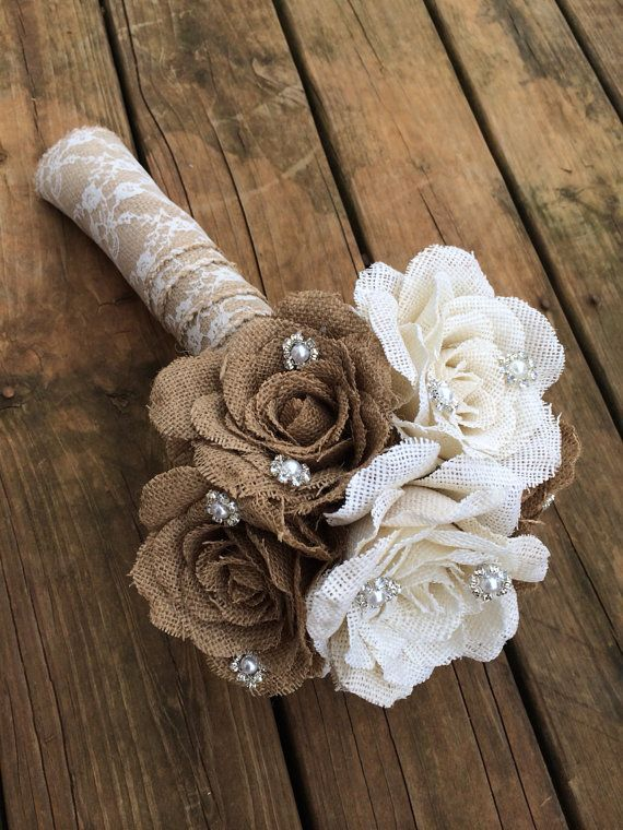 Burlap flower bouquet for rustic vintage weddings etsy for What to make with burlap