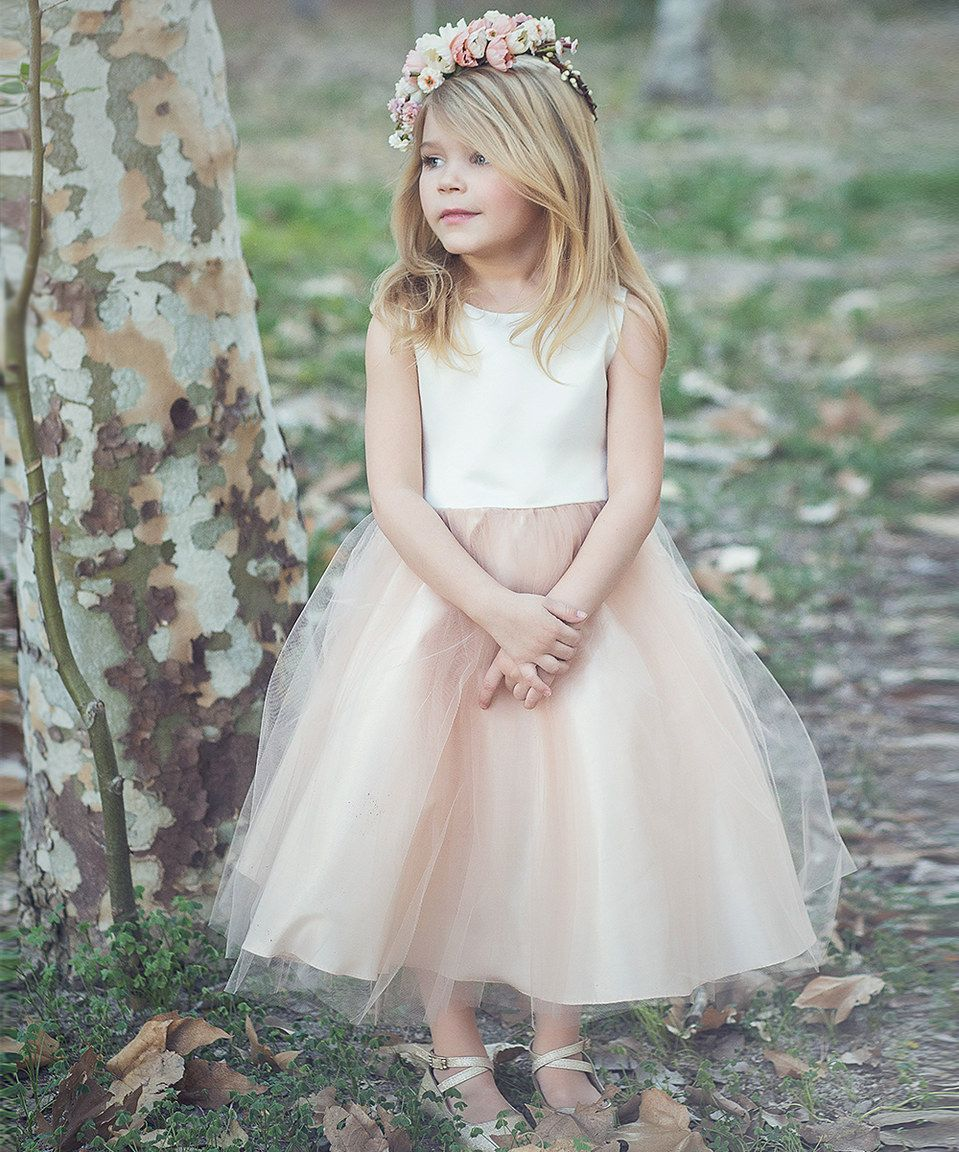 Petite Adele Champagne Tulle Flower Dress - Toddler & Girls by ...