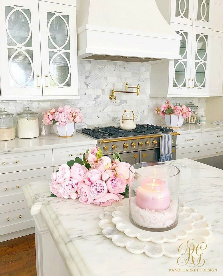 brighten kitchen pink white kitchen marble countertops pink peonies pi in 2020 with images on kitchen decor pink id=29360