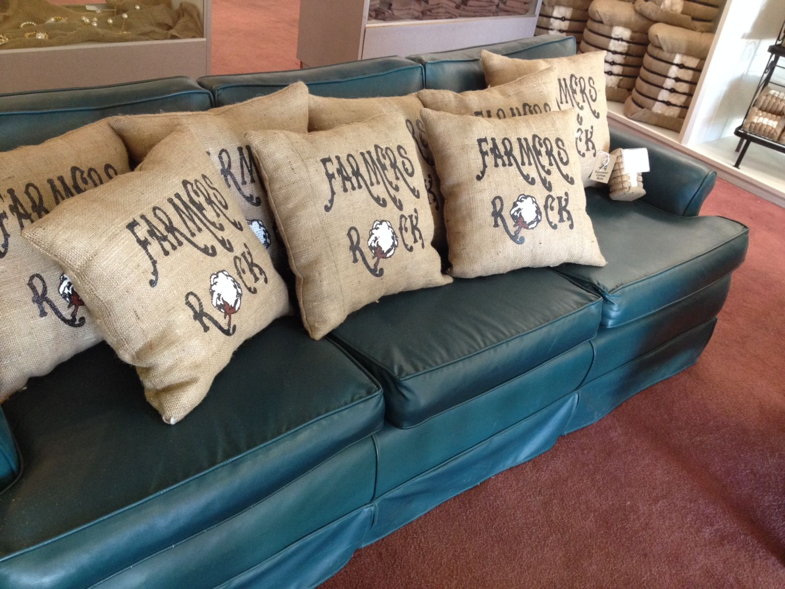 Handmade Farmers Rock burlap pillows stuffed with Mississippi Delta Cotton!