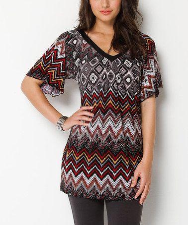 Another great find on #zulily! Black & Red Zigzag Amara V-Neck Tunic by Jantie #zulilyfinds
