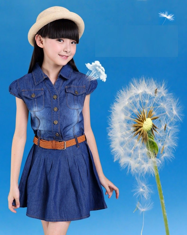 0c129739c3a New Clothing For Girls 3 to 15 Years Cotton Girls Denim Dress Toddler Girls  TuTu Party Dress dark blue