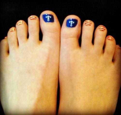 Nail Art Toes Nailpolish Nailart Sailor Anchor Nails