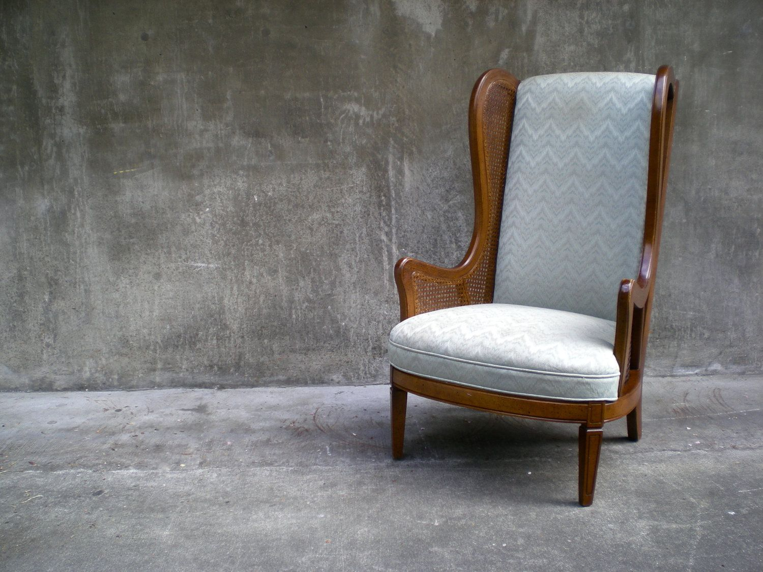 Chevron wing chairs - Vintage Cane Wingback Chair With Chevron Stripe Upholstery Local Pick Up Only