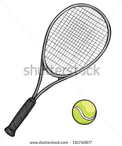 Vector Cartoon Tennis Racket And Ball Tennis Racket Sports Balls Tennis