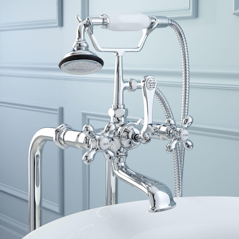 Freestanding Telephone Tub Faucet & Supplies - Cross Handles ...
