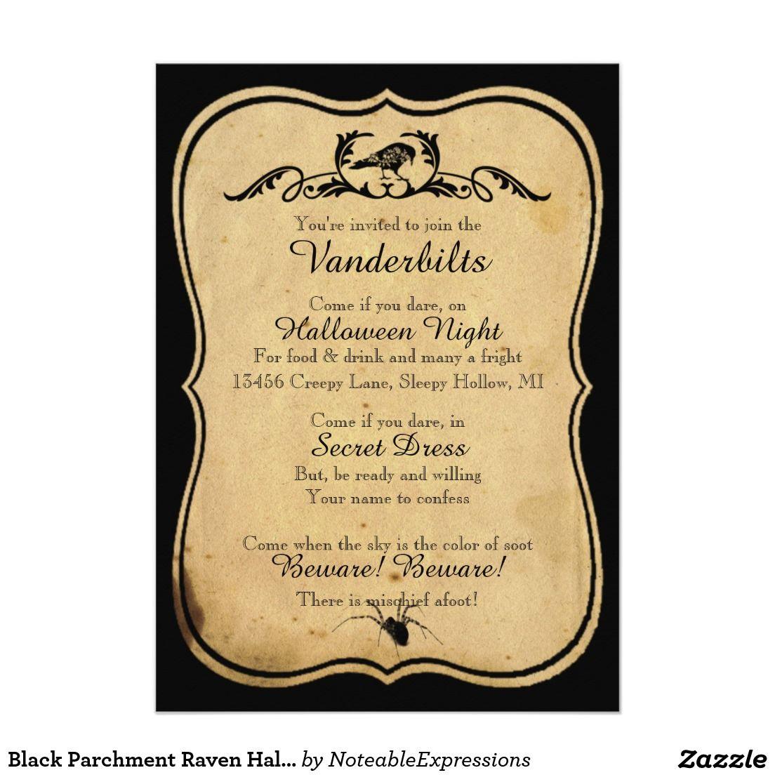 Black parchment raven halloween party invitation halloween parties black parchment raven halloween party invitation stopboris Images