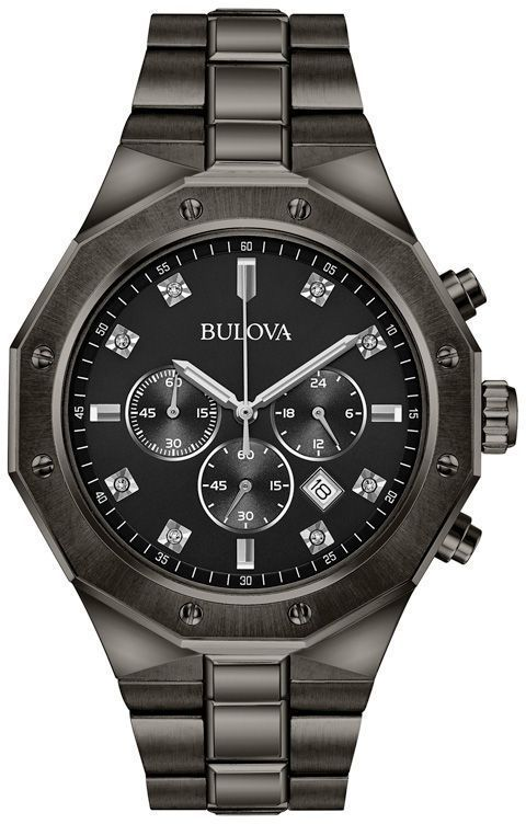 2b137079ac0 Zales Men s Bulova Diamond Accent Grey IP Chronograph Watch with Black Dial  (Model  98D142)
